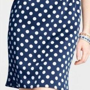 Ann Taylor Blue Shirttail Hem Polka Dot Skirt